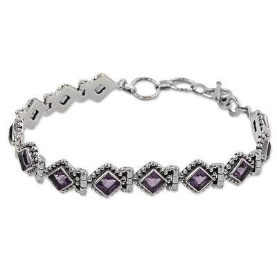 Amethyst Sterling Silver Tennis Style Bracelet from India