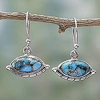 Sterling silver dangle earrings, 'Protective Eyes in Light Blue' - Hand Made Composite Turquoise Dangle Earrings from India