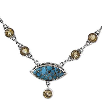 Composite Turquoise and Citrine Pendant Necklace India