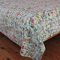 Cotton bedspread, 'Garden Glam' (twin) - Indian Artisan Crafted Twin Size Colorful Cotton Bedspread