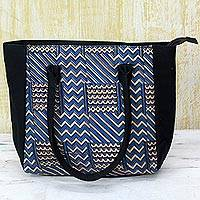 Batik cotton tote handbag, 'Azure Zigzag' (India)