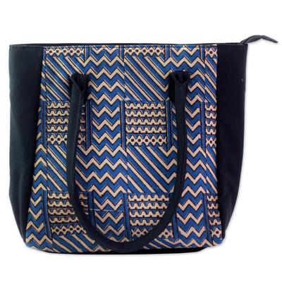 100% Cotton Batik Tote Handbag in Azure from India