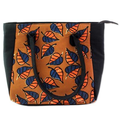 100% Cotton Batik Tote Handbag in Ginger from India