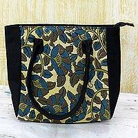 Batik cotton tote handbag, 'Floral Thicket in Olive' (India)
