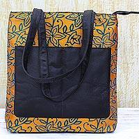 Leather accent silk shoulder bag, 'Divine Sunrise' - Kantha Embroidered Silk Shoulder Bag in Sunrise from India
