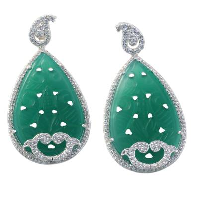 Handmade Indian Green Onyx and Cubic Zirconia Drop Earrings