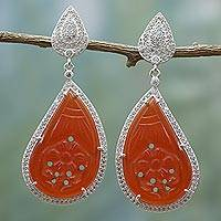 Carnelian dangle earrings, 'Romantic Flame' - Handcrafted Carnelian Dangle Earrings from India