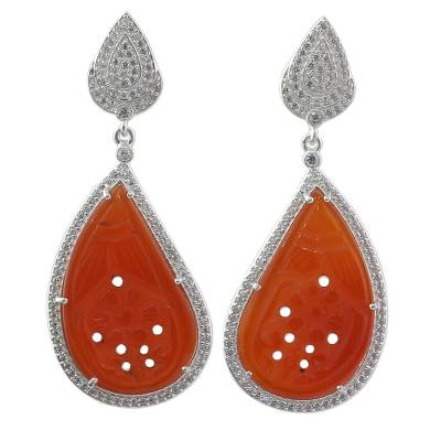 Handcrafted Carnelian Dangle Earrings from India