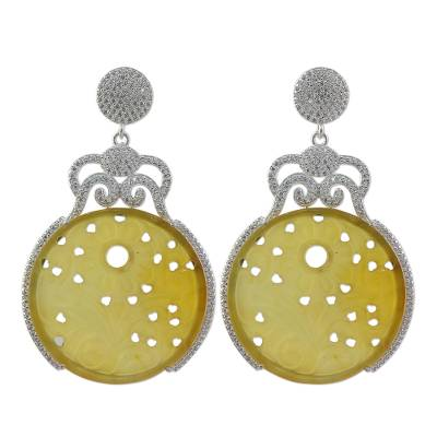 Handcrafted Yellow Agate and Cubic Zirconia Dangle Earrings