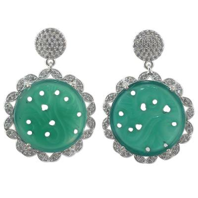 Handcrafted Green Onyx and Cubic Zirconia Dangle Earrings