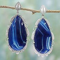 Agate dangle earrings, 'Stunning Blue' - Sterling Silver and Blue Agate Dangle Earrings from India