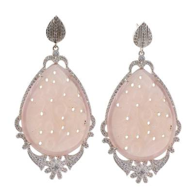Indian Pink Agate and Cubic Zirconia Dangle Earrings