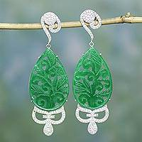 Jade dangle earrings, 'Majestic Beauty' - Handcrafted Green Jade Dangle Earrings from India