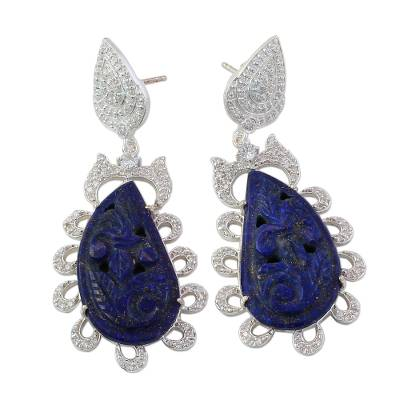 Handcrafted Silver and Lapis Dangle Earrings from India