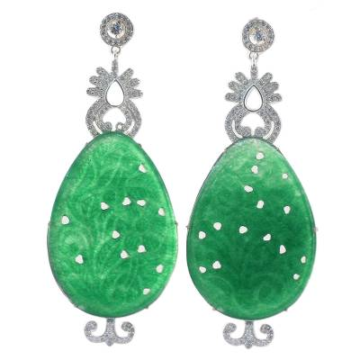 Handcrafted Green Agate Dangle Earrings from India
