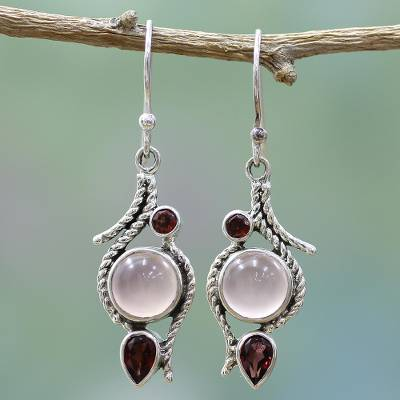 Garnet and chalcedony dangle earrings, 'Shades of Red' - Hand Made Garnet Chalcedony Dangle Earrings from India