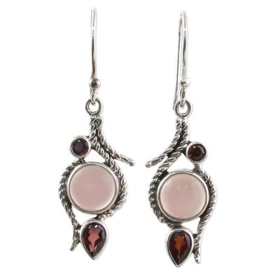 Hand Made Garnet Chalcedony Dangle Earrings from India