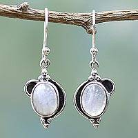 Rainbow moonstone dangle earrings, 'Rainbow Ovals' - Sterling Silver Rainbow Moonstone Dangle Earrings from India