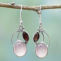 Garnet and chalcedony dangle earrings, 'Pink Fog' - Garnet Chalcedony Sterling Silver Dangle Earrings India