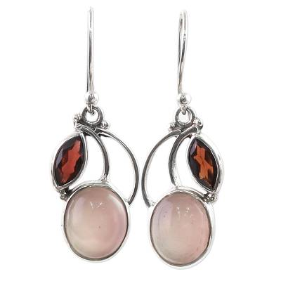 Garnet Chalcedony Sterling Silver Dangle Earrings India