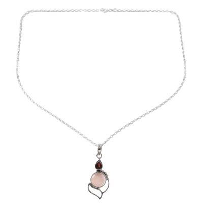 Garnet Chalcedony Sterling Silver Pendant Necklace India