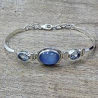Featured review for Blue topaz and chalcedony pendant bracelet, Shining Blue