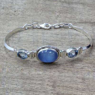 Blue topaz and chalcedony pendant bracelet, Shining Blue