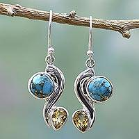 Citrine dangle earrings, 'Sparkling Planet' - Citrine Composite Turquoise Dangle Earrings from India