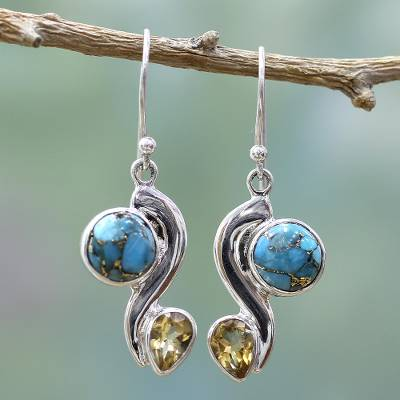 Citrine dangle earrings, Sparkling Planet