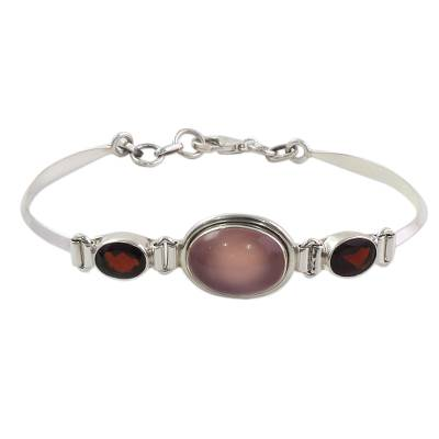 Sterling Silver Garnet and Chalcedony Pendant Bracelet