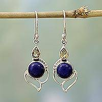 Citrine and lapis lazuli dangle earrings, Starry Crest - Citrine and Lapis Lazuli Dangle Earrings from India