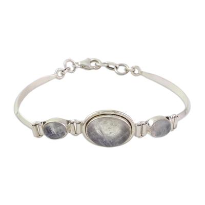 Sterling Silver Rainbow Moonstone Pendant Bracelet