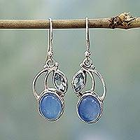 Blue topaz and chalcedony dangle earrings, 'Blue Fog' - Sterling Silver Blue Topaz Chalcedony Dangle Earrings India
