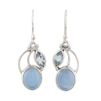 Sterling Silver Blue Topaz Chalcedony Dangle Earrings India