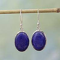 Lapis lazuli dangle earrings, 'Oval Seas' - Sterling Silver Lapis Lazuli Dangle Earrings from India