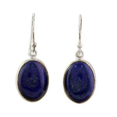 Sterling Silver Lapis Lazuli Dangle Earrings from India