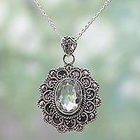 Prasiolite pendant necklace, 'Dazzling Elegance' - Sterling Silver Prasiolite Pendant Necklace from India