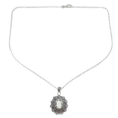 Sterling Silver Prasiolite Pendant Necklace from India