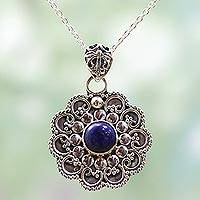 Lapis lazuli pendant necklace, 'Blue Eternity' - Sterling Silver Lapis Lazuli Pendant Necklace India