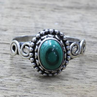 Malachite cocktail ring, 'Hypnotic Forest' - Artisan Designed Sterling Silver and Malachite Cocktail Ring