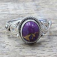 Sterling silver cocktail ring, 'Purple Attunement' - Silver Purple Composite Turquoise Cocktail Ring India