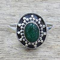 Quartz cocktail ring, 'Misty Sun' - Sterling Silver Green Quartz Cocktail Ring from India
