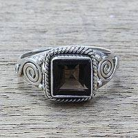 Smoky quartz cocktail ring, 'Mystic Magic' - Smoky Quartz and Sterling Silver Cocktail Ring