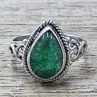 Quartz cocktail ring, 'Forest Drop' - Teardrop Shaped Green Quartz Sterling Silver Cocktail Ring