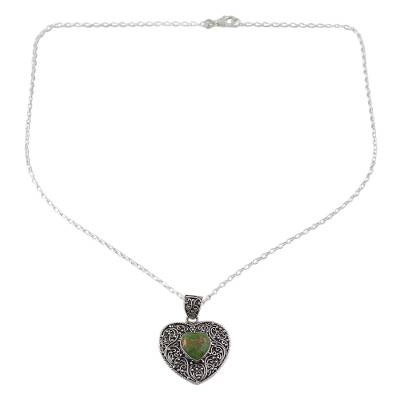 Silver and Green Composite Turquoise Pendant Necklace