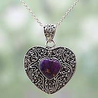 Sterling silver pendant necklace, 'Purple Heart Attunement' - Silver Purple Composite Turquoise Pendant Necklace