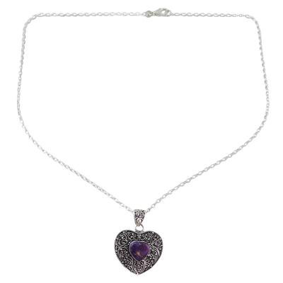 Silver Purple Composite Turquoise Pendant Necklace