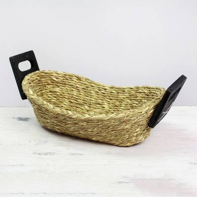 Grass and wood basket, 'Quiet Repose' - Hand Made Grass and Wood Basket from India