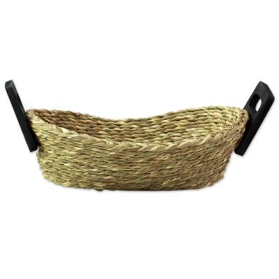 Hand Made Grass and Wood Basket from India