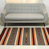 Wool area rug, 'Majestic Stripes' (4x6) - Indian Striped Wool Area Rug in Claret and Dark Taupe (4x6)